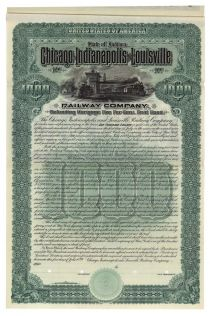 Chicago, Indianapolis & Louisville Railway Company Bond