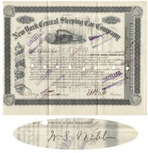 New York Central Sleeping Car Co. Issued To And Signed Twice By William Seward Webb