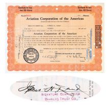 Aviation Corporation Of The Americas Issued To And Signed On Verso By James H. Rand