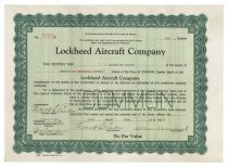 Lockheed Aircraft Company Stock Signed By Allan Loughead