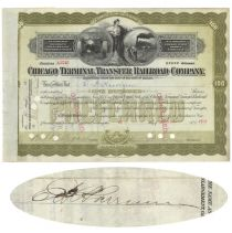 Chicago Terminal Transfer Railroad Co. Issued To And Signed On Verso By E.h. Harriman