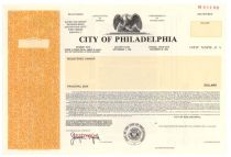 City Of Philadelphia Bond Specimen
