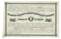A Rare Chilean Bank Stock Proof By American Bank Note Company El Banco Chileno Garantizador De Valores