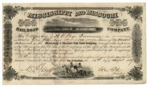 Mississippi & Missouri Railroad Stock Signed As President By John A. Dix