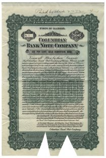 Columbian Bank Note Company Bond Certificate #1
