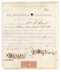 One Of Jay Gould's First Railroad Ventures Signed As President - Troy Salem And Rutland Rail Road Stock Certificate Issued To And Signed By One Of Gould's Earliest Railroad Business Partners: William T. Hart
