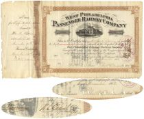 A West Philadelphia Passenger Stock Signed By Peter Widener And Issued To And Signed By William Elkins