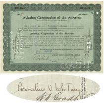 Aviation Corporation Of The Americas Stock Issued To And Signed Twice By Aviation Pioneer Cornelius Vanderbilt Whitney
