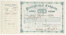 Thomas Scott Signs A Pennsylvania Company Stock Certificate As President