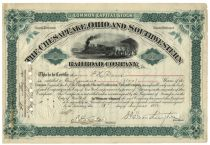 Collis P. Huntington Signs A Chesapeake, Ohio And Southwestern Railroad Company Stock
