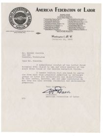A Fine William Green Letter On American Federation Of Labor Letterhead