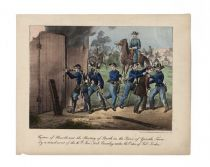 """Capture Of Harrold And The Shooting Of Booth In The Barn Of Garath's Farm By A Detachment Of The 16th New York Cavalry Under The Order Of Col. Baker"""