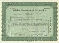 Juan Trippe Signs An Aviation Corporation Of The Americas Stock Certificate