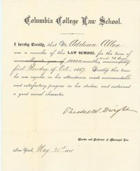 The Founder Of Columbia Law School, Theodore Dwight, Signs A Document Pertaining To The School