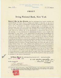 Pierre S. Dupont Signs An Irving National Bank Proxy Document