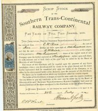Thomas A. Scott Signs A Southern Trans-Continental Railway Company Scrip Stock Certificate As President