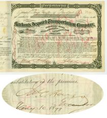 A Merchants Despatch Transportation Company Stock Signed By James C. Fargo Twice