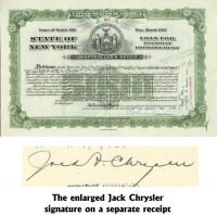 Jack Chrysler Signs A State Of New York Bond