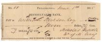Early Pennsylvania Bank Check Signed By Nicholas Biddle