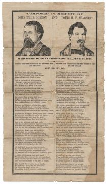 A Rare Broadside On The Execution of Louis H. F. Wagner Who Was Convicted Of The Axe Murders Of Two Woman On The Isles Of Shoals Off The Coast Of New Hampshire