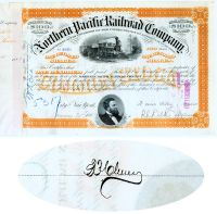 Northern Pacific Railroad Stock Issued To And Signed By Express Pioneer Benjamin P. Cheney