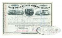 St. Paul & Duluth Railroad Stock Issued To And Signed By Banker Charles D. Barney