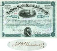 Nothern Pacific Railroad Company Issued To E. H. Harriman & Co. And Signed By E. H. Harriman For The Company