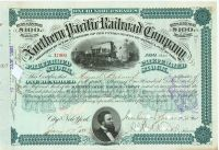 Northern Pacific Railroad Stock Issued To But Not Signed By August Belmont