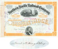Northern Pacific Railroad Stock Issued To And Signed On Verso By New York Merchant David Houghtaling