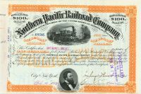 Northern Pacific Railroad Stock Issued To But Not Signed By Anthony J. Drexel