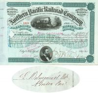 Northern Pacific Railroad Stock Issued To The Estate Of Famous Restaurateur Lorenzo Delmonico