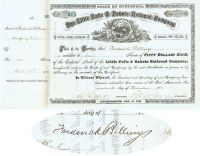 The Little Falls & Dakota RR Co. Issued To And Signed By Frederick Billings