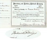 Jamestown And Northern RR Co. Issued To And Signed By Frederick Billings