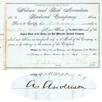 Helena & Red Mountain Railroad Company Issued To And Signed By A. Anderson And Signed By S.T. Hauser As President