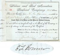 Helena And Red Mountain RR Company Issued To And Signed By E. L. Bonner And Signed By S. T. Hauser As President
