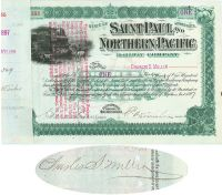 Saint Paul And Northern Pacific RW Co. Issued To And Signed By Charles S. Mellen Signed By Edwin W. Winter As President