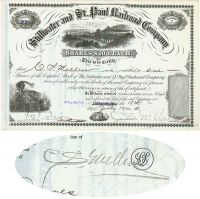 Stillwater And St. Paul Railroad Company Issued To And Signed On Verso By C. S. Mellen