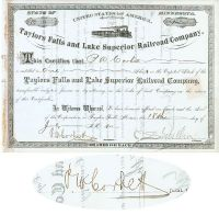 Taylors Falls And Lake Superior Railroad Co.  Signed By C. S. Mellen As President