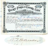 Rocky Fork And Cooke City Railway Co. Issued To And Signed By Samuel T. Hauser