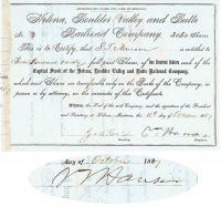 Helena, Boulder Valley And Butte RR Co. Issued To And Signed Twice By S. T. Hauser