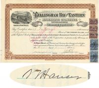 Bellingham Bay And Eastern Railroad Company Issued To And Signed On Verso By Samuel T. Hauser