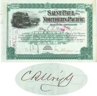 Saint Paul And Northern Pacific RW Co. Issued To And Signed By Charles B. Wright