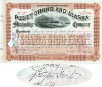 Puget Sound And Alaska Steamship Co. Issued To And Signed By Brayton Ives