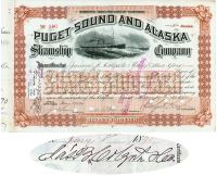 Puget Sound And Alaska Steamship Co. Issued To And Signed By James B. Colgate