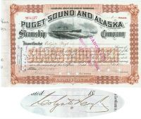 Puget Sound And Alaska Steamship Co. Issued To And Signed By Colgate Hoyt