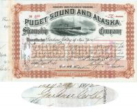 Puget Sound And Alaska Steamship Co. Issued To And Signed By  Gardner Colby