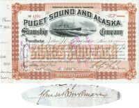 Puget Sound And Alaska Steamship Co. Issued To And Signed By John U. Brookman