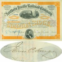 Northern Pacific Railroad Stock Issued To And Signed On Verso By James C. Fargo