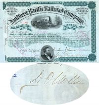Northern Pacific Railroad Company - Issued To And Signed On Verso By D.O. Mills