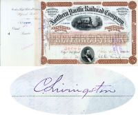 Northern Pacific Railroad Stock Issued To And Signed By Crawford Livingston, Express Pioneer And Early Partner Of Henry Wells